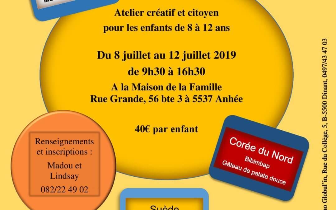 """Du 8 juillet au 12 juillet 2019 : atelier """"Cuisine du monde"""""""